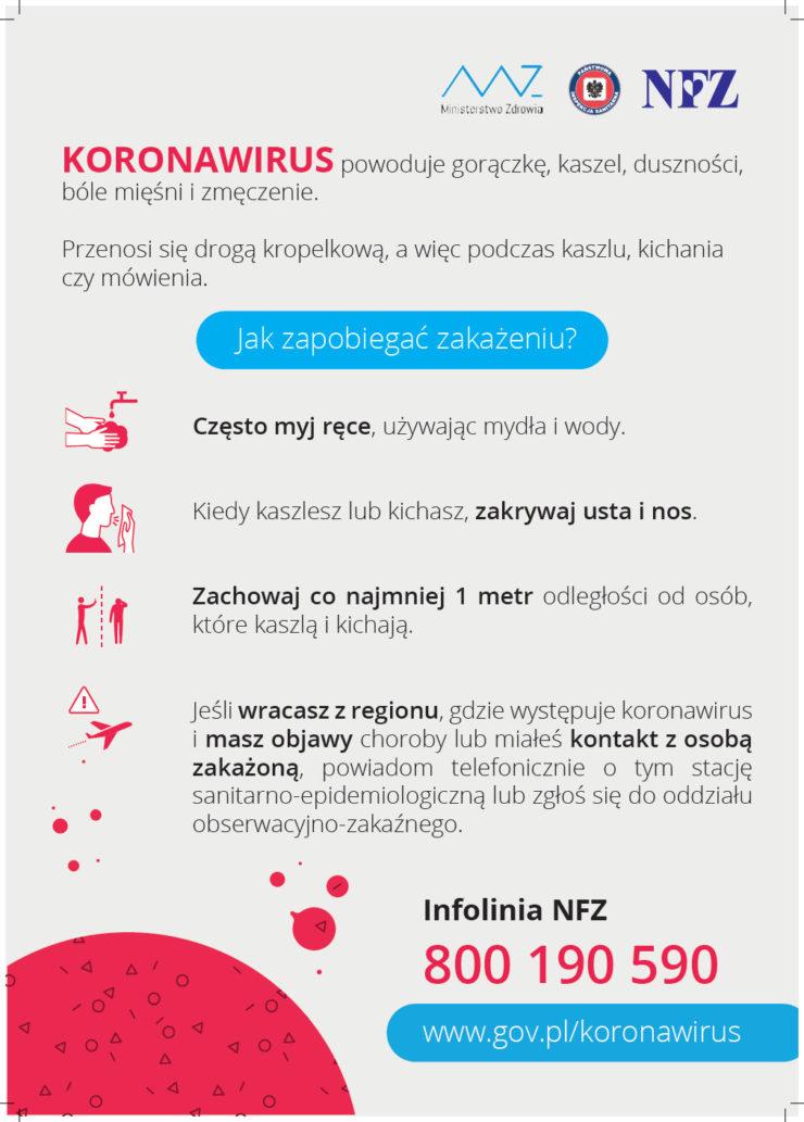 plakat jak zapobiegać zakażeniu koronawirus
